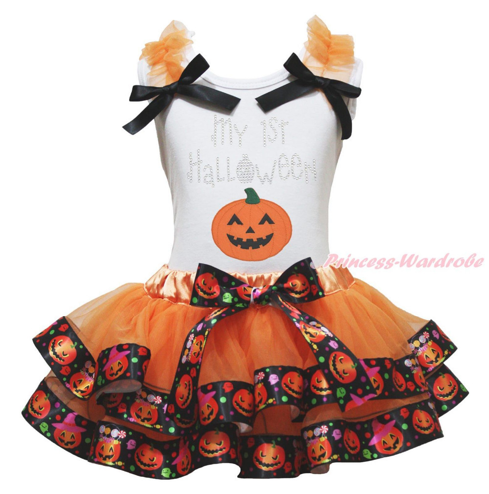 My 1ST Halloween White Top Shirt Pumpkin Satin Trim Skirt Girl Outfit Set NB-8Y MAPSA0865 st patrick s day green clover white top satin trimmed baby girl skirt set 1 8y mapsa0394
