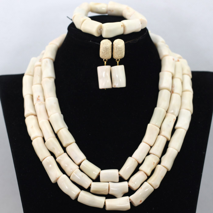 Wholesale Cream White African Wedding Coral Beads Necklace Set Nigerian Chunky Coral Beaded Women Celebration Jewelry