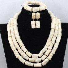 Comercio al por mayor Blanco Crema de La Boda Africana Coral Beads Necklace Set Nigeriano Chunky Coral Beaded Mujeres Sistema de La Joyería Celebración QW702