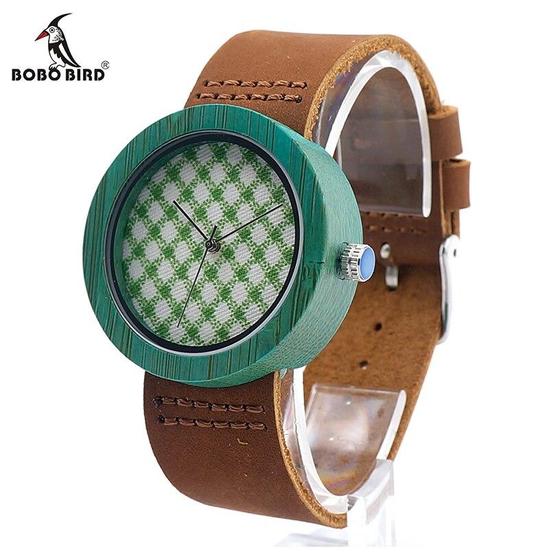 BOBO BIRD V-D18 Womens Wooden Watch Fabric Print Style Dial Ladies Quartz Watch in Gift Box saat kadinlar