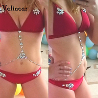 vefinear sexy biquini Rhinestone Swimsuit 2018 Crystal Diamond red Bikini Set bling bling Swimwear womenn Beachwear bathing suit