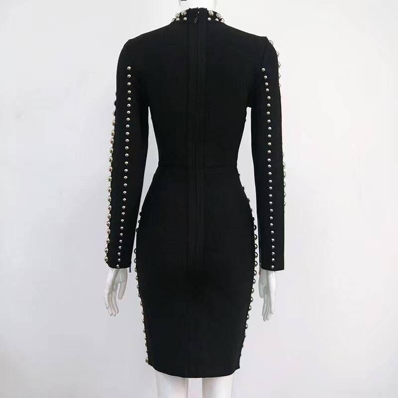 Celebrity Designer Élégant Moulante Party Femmes Bandage Longues À Manches Perles Noir 2017 Slim Rayonne Sexy Robe x6Uq4wAR