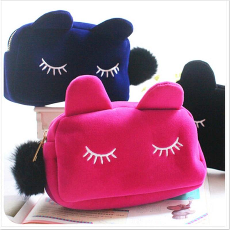 Ernst 3 Farben Tragbare Cartoon Katze Münze Lagerung Fall Flanell Beutel Reise Make-up Taschen Für Frauen Mädchen Kosmetische Fällen Handtasche