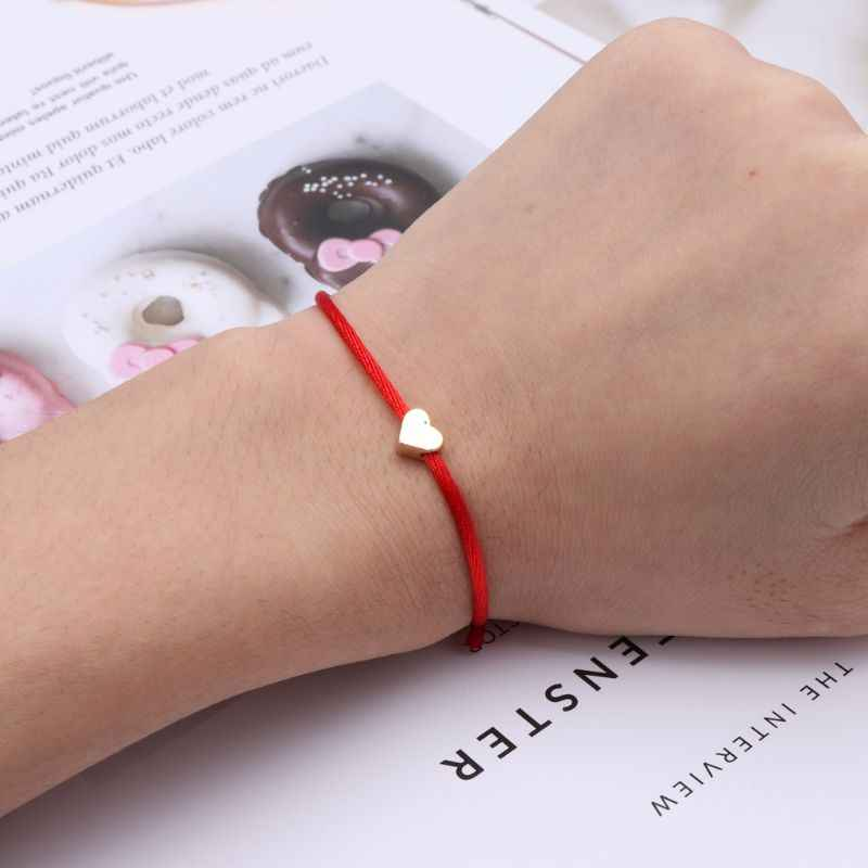 Lucky Kabbalah Heart Charm Weave Red String Love Bracelet Friendship Jewelry Bijoux Christmas Gifts