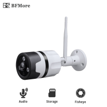 BFMore Two-way Audio WiFi fisheye IP Camera 1080P 2.0MP Sony IMAX323 Outdoor Cam SD Card Storage Wireless Weatherproof Security
