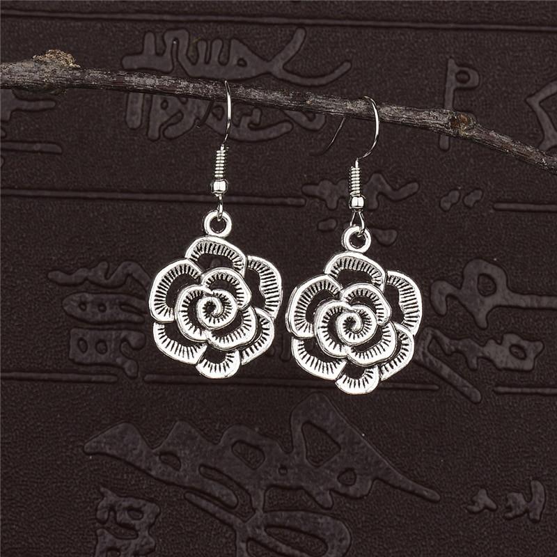 Small Mandala drop hook earrings Indian boho flower silver jewellery India gypsy