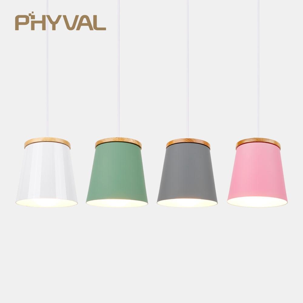 Wooden Nordic Pendant Lights For Home Lighting Modern Hanging Lamp Aluminum Lampshade LED Bulb Bedroom Kitchen Light iron E27