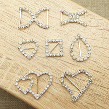 50Pcs Rhinestone Buckle Slider Diamante Crystal Invitation Ribbon For Wedding Supply Silver Plating