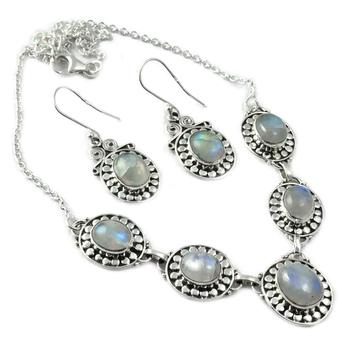 Genuine  Blue Fire Moonstone Necklace + Earrings set 925 Sterling Silver, 45 cm, MHBNE0074