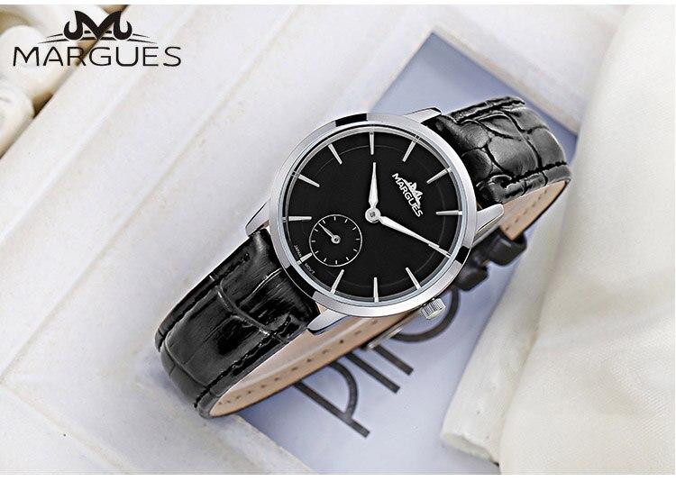 2018 Новый Margues бренд кварцевые часы для любителей пара простой маленький циферблат модные часы водонепроницаемые кожаный ремешок часы 021
