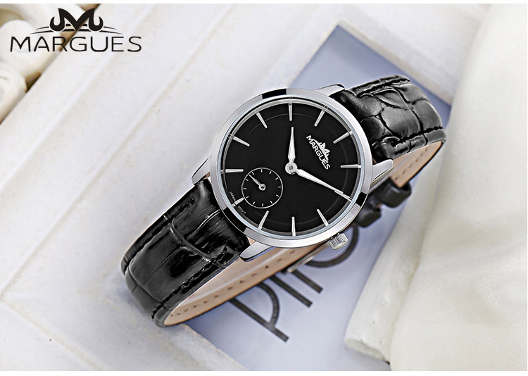 New MARGUES Brand Quartz Watch For Couple Lovers Simple Small Dial Fashion Watches Waterproof Leather Strap Clock 021