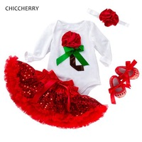 3D Rose Red Fashion New Year Baby Girl Clothes Sets Valentine Toddler Outfits Bodysuit Skirt Headband Shoes Ensemble Bebe Fille