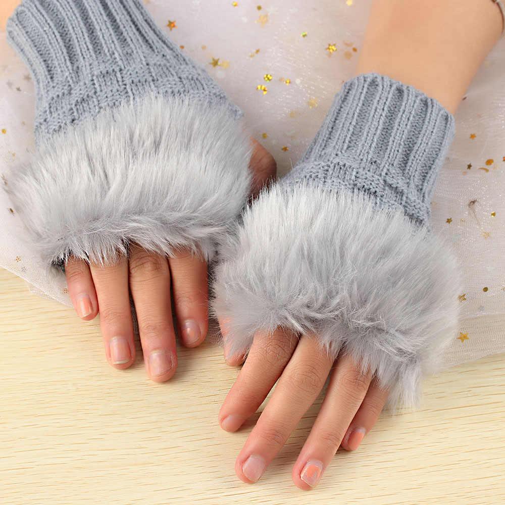 1 paire laine mélangée fausse fourrure de lapin femmes gants sans doigts tricoté Crochet hiver épais gants chaud mitaines femme
