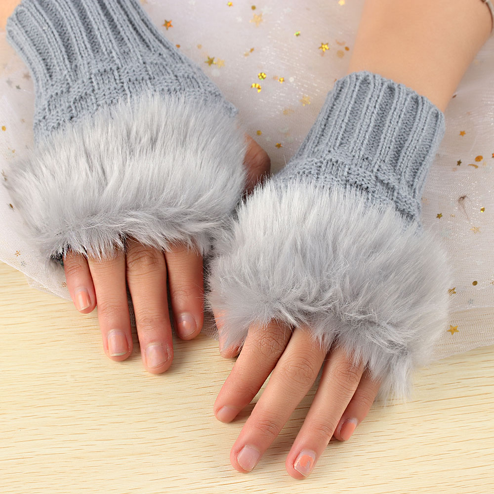 1Pair Fashion Women Faux Rabbit Fur Hand Wrist Crochet Knitted Fingerless Gloves Knitting Mittens Winter Autumn Warmer