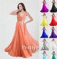 Zj0108 красивая девочка коралл персик окрашенный глубокий v шея элегантный официальный платья вечерние платья длинная платье ну вечеринку ночь макси