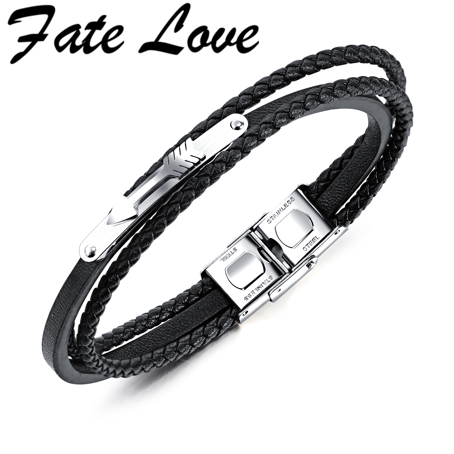 Fate Love Charm Leather Vintage Arrow Bracelet Multilayer Braided Wristband Bracelet Men Pulseira Jewelry Accessories FL1228
