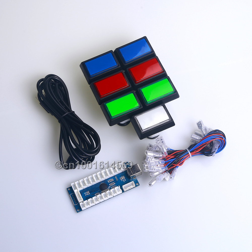 ФОТО Easyget Arcade Game DIY Parts Kit 7 x 50mm*33mm LED Illuminated Rectangular Push Button For MAME Games & Raspberry Pi 3B Project