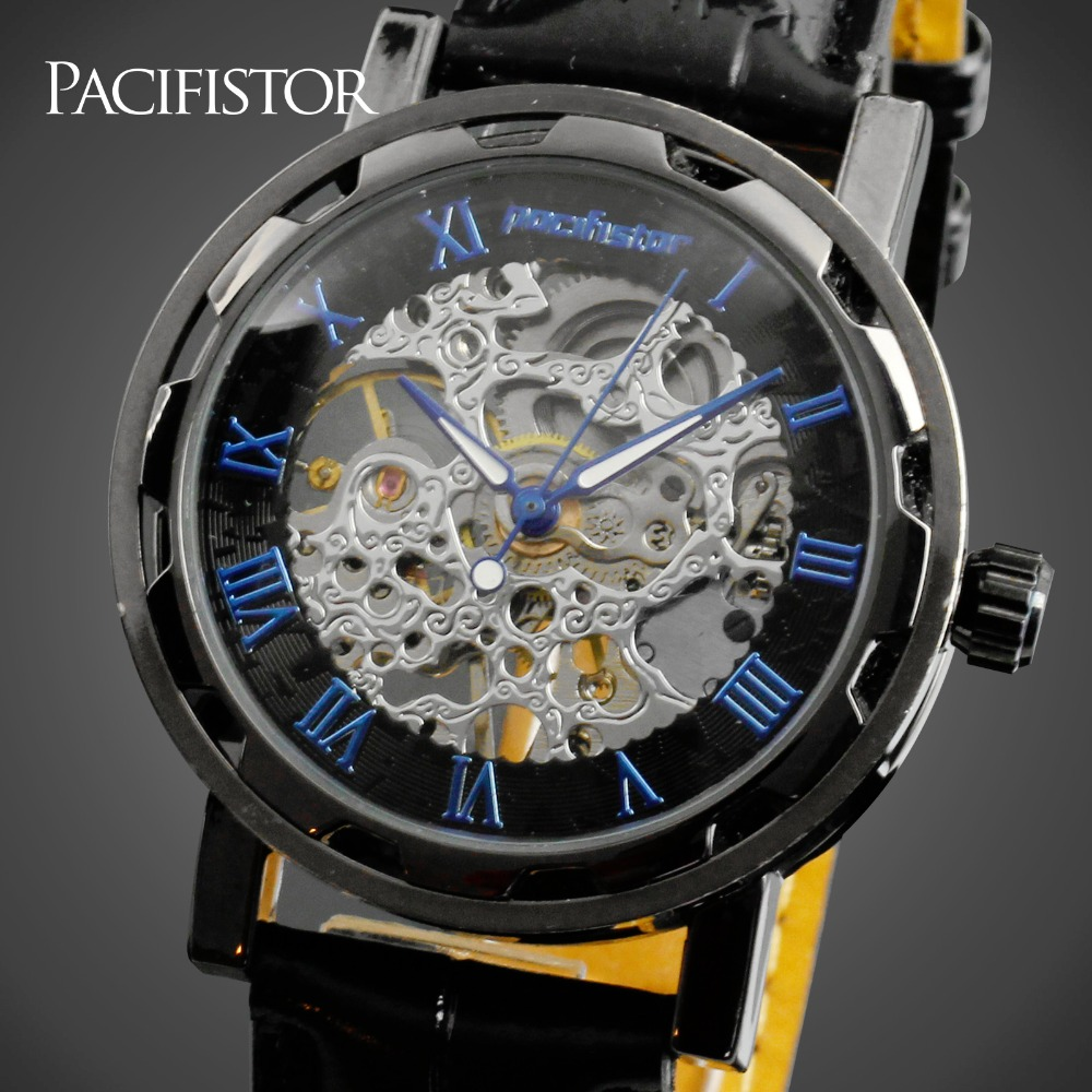 PACIFISTOR Mens Watches Luxury Brand Relojes Hombre Semi automatic Skeleton Hollow Mechanical Watches Artificial Leather Strap