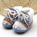 Симпатичные Baby Shoes Весна Теплые Мягкие Детские Ретро Печать Shoes Хлопка Проложенный Младенческой Мальчиков Младенца 6-12 M Девушки мягкие Ботинки