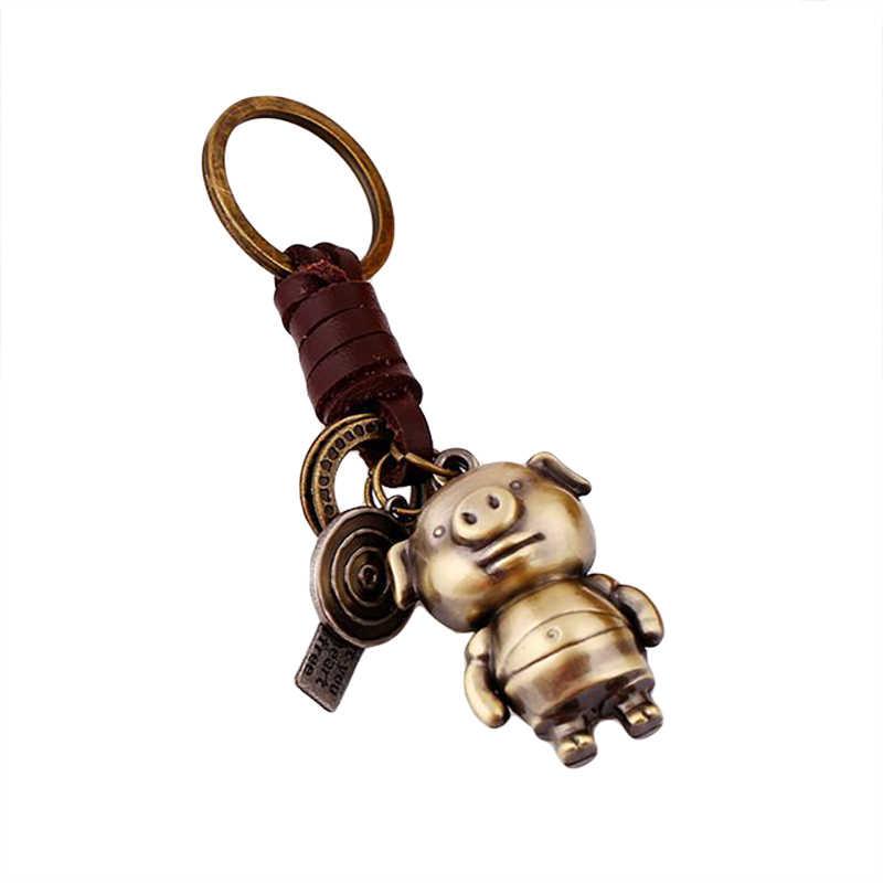 LK /_ Vintage Imitación Cuero Círculo Anillo cerdo dibujos animados oso Encanto Colgante Llave del Coche CH