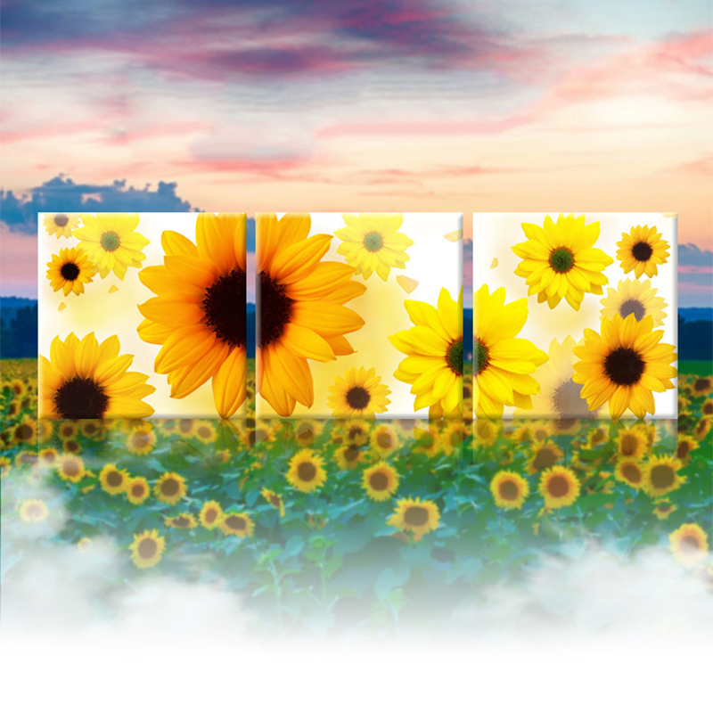 Sunflower triple round Diamond Painting Cross Stitch Arts,Crafts living room painting home handmade sewing supplies sale 3