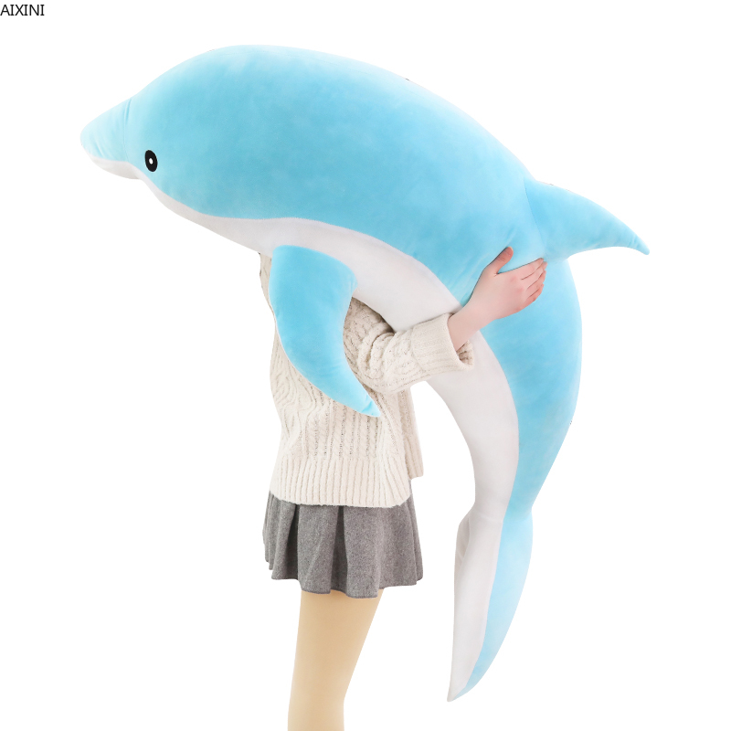 1pcs 50-140cm Giant Dolphin Plush Toys Stuffed Dolls Animal Pillow Kawaii Office Nap Pillow Kids Toy Christmas Gift for Girl Toy