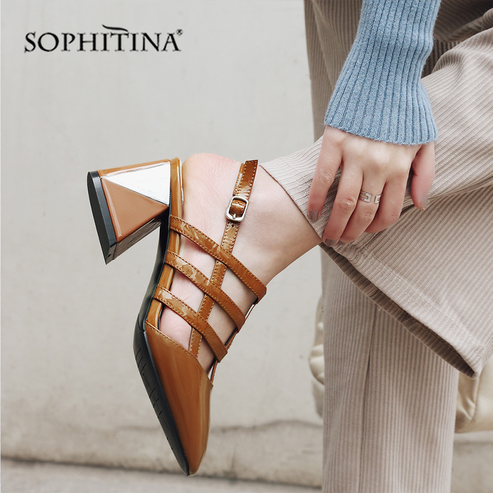 SOPHITINA High Quality Genuine Leather Sandals Fashion Buckle Strap High Square Heel Shoes Hot Sale Rear