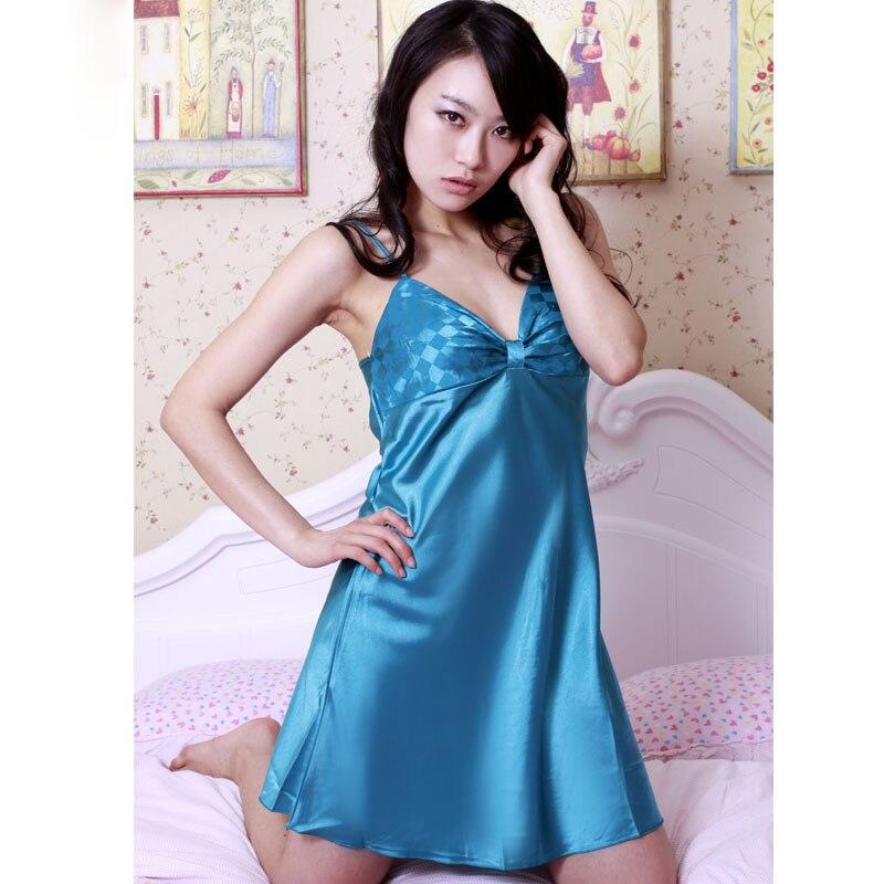 Ladies Sexy Sling Lingerie Summer Satin Nightdress Women Sleepwear  Nightgown Plus Size Silk Sleep Dress Night Gown Women 00 7756f5240