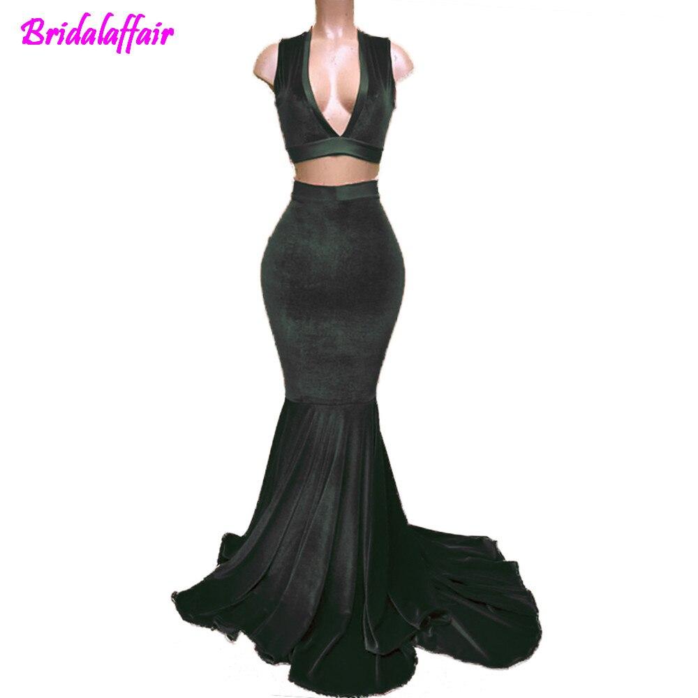 Sexy Profondo Scollo A V Rosso Velluto Due Pezzi every pretty Mermaid cheap prom dresses 2018 Prom Abiti Da Sera Custom Made in Evening Dresses from Weddings Events