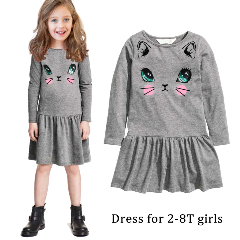 High quality kids clothes fashion girl dress cat design ...