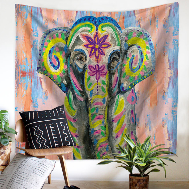 BeddingOutlet Watercolor Elephant Tapestry Wall Hanging Decorative Colorful Sheet Indian Boho Wall Art Beach Mat Bedspreads