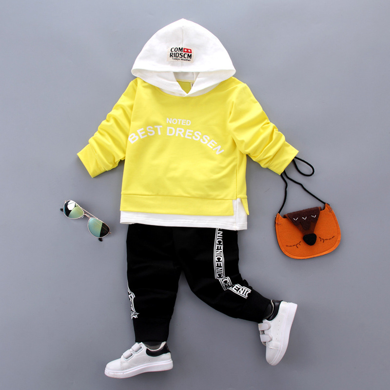 New Fashion Autumn Spring Baby Boys Girls Clothing Set Cute Cotton Hooded +pant Casual Long Sleeve Clothes Sets