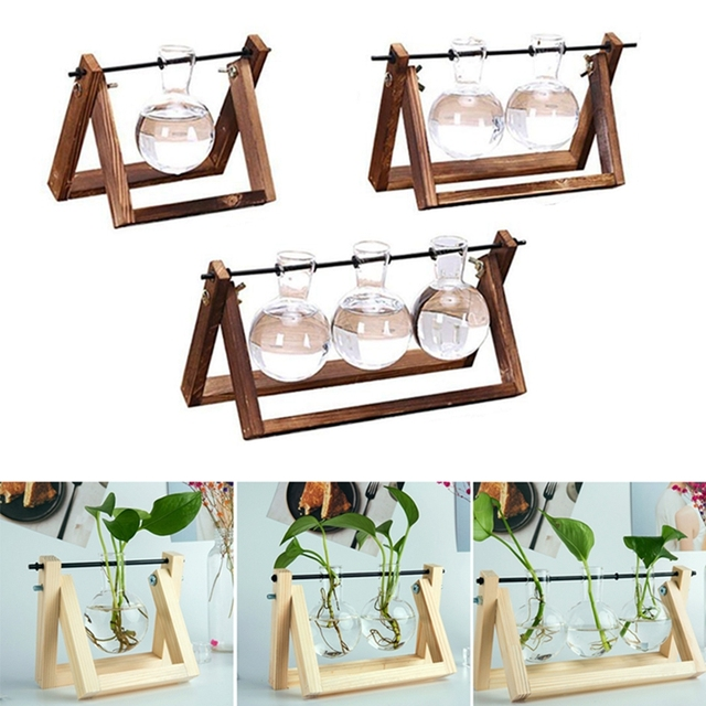 Desktop Glass Planter Vase with Retro Solid Wooden Stand and Metal Swivel Holder for Hydroponics Plants Home Wedding Decoration