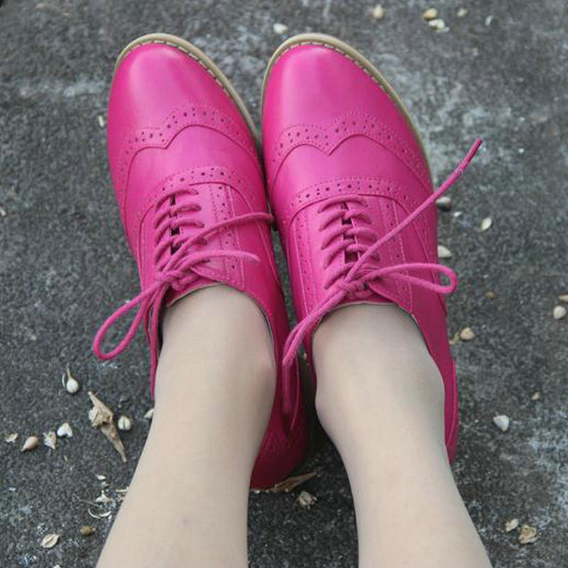 British Wind Handmade Genuine Leather Lace up Oxford Shoes Bullock Carved Thick Heel Female Oxford Pumps