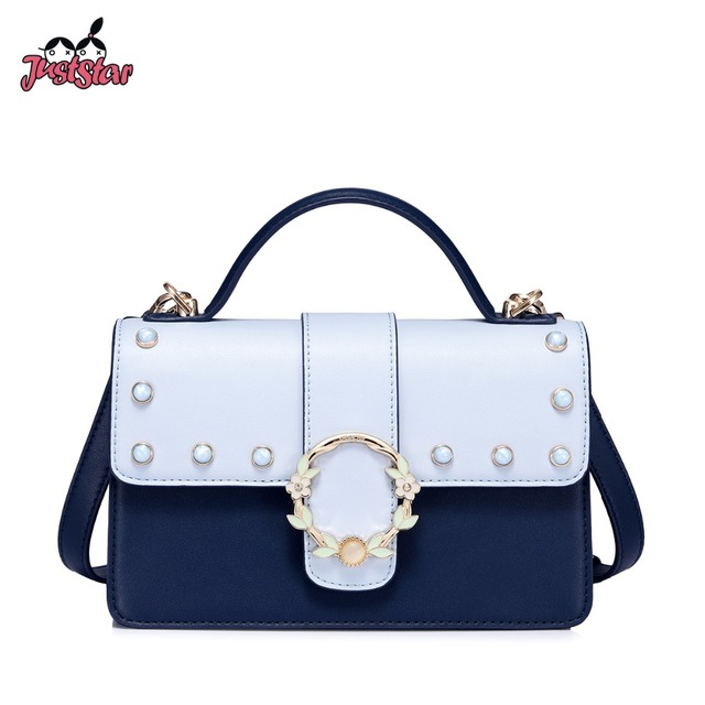 Just Star Brand Women S Leather Handbags Las Fashion Rivet Tote Purse Female Leisure Panelled All