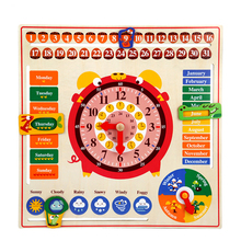 Calendar Time Toys for Children Montessori Educational Wooden Toy Kids Gifts Early Childhood Education