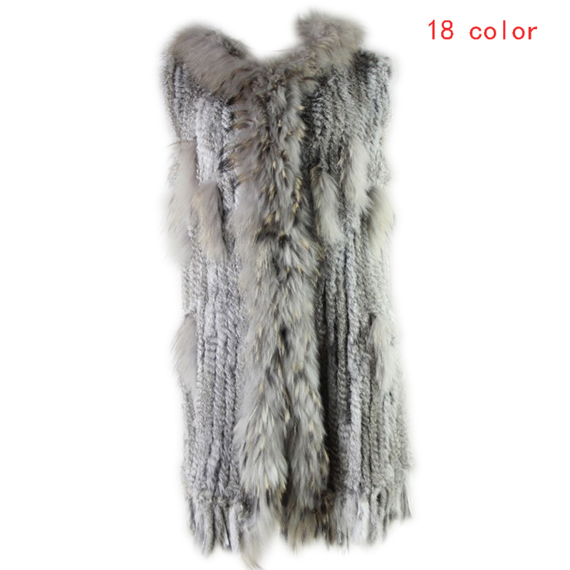 2019 Winter Women Leisure Fashion Warm Real Fur Vest Female Knitted Rabbit Fur Gilet Patchwork Raccoon Coat Long Outerwear Vests-in Real Fur from Women's Clothing    1