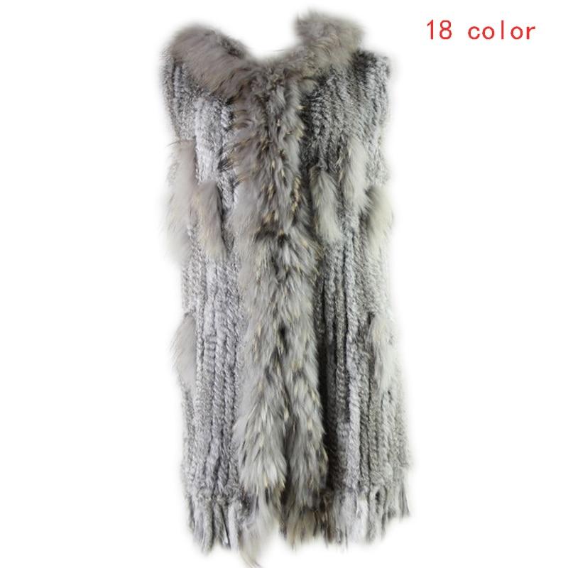 2019 Winter Women Leisure Fashion Warm Real Fur Vest Female Knitted Rabbit Fur Gilet Patchwork Raccoon Coat Long Outerwear Vests