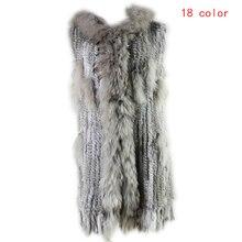 2019 Winter Women Leisure Fashion Warm Real Fur Vest Female Knitted Rabbit Fur Gilet Patchwork Raccoon Coat Long Outerwear Vests fahion artificial fur gilet outerwear