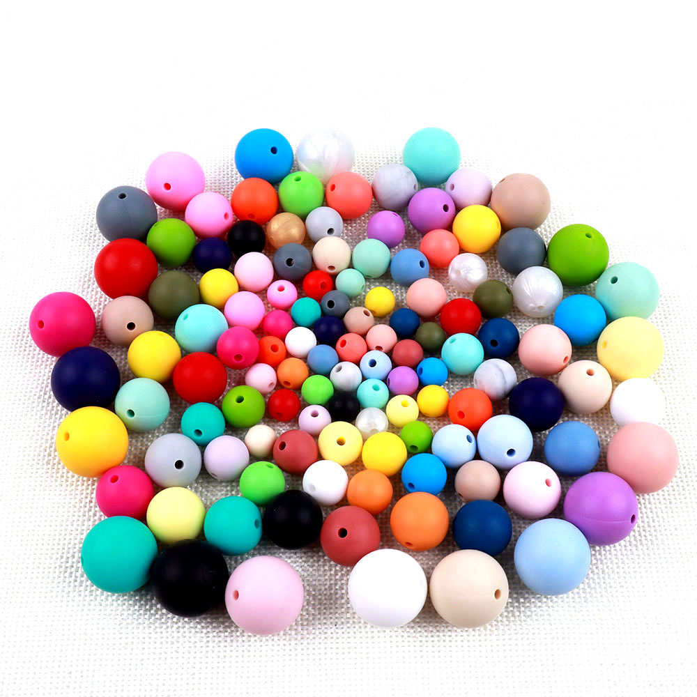 TYRY.HU 100Pcs Silicone Beads BPA Free 9/12/15mm Silicone Teething Beads For Necklace Pacifier Chain Baby Teether