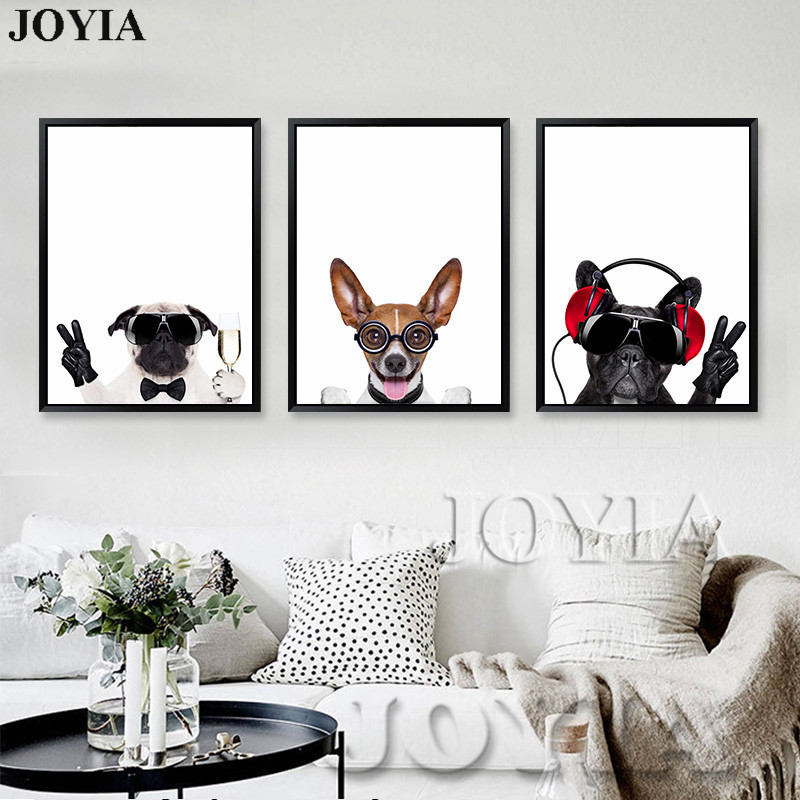 Triptych Canvas Art Pet Dogs Animal Wall Pictures Painting
