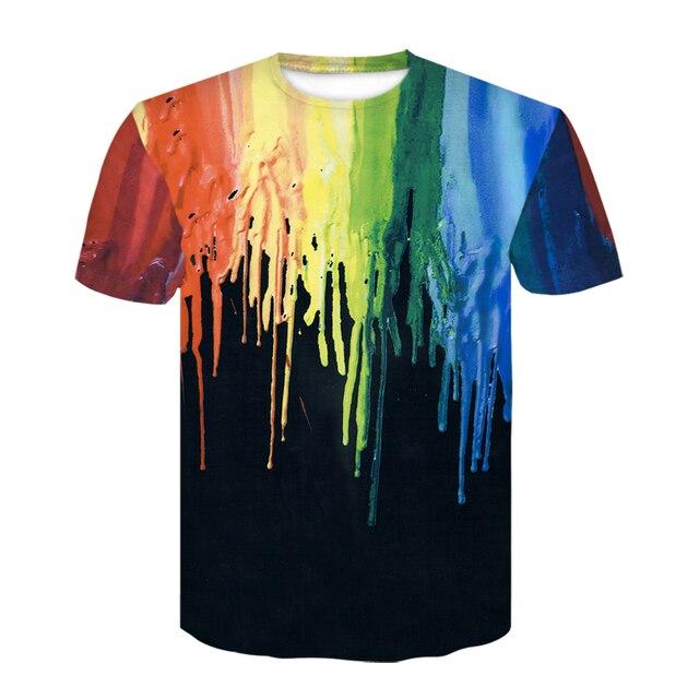 2019 dewin Du 3D acuarela colorida pintura camisetas verano hombres cuello redondo manga corta Tops moda Casual camisetas camisetas