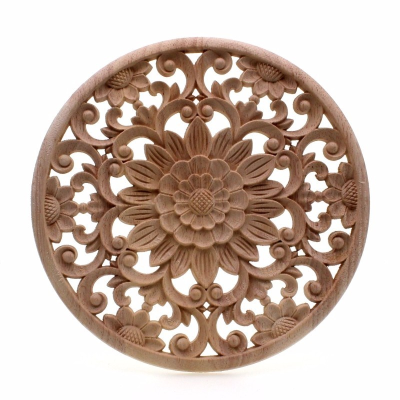 Runbazef Carved Flower Carving Round Wood Appliques For