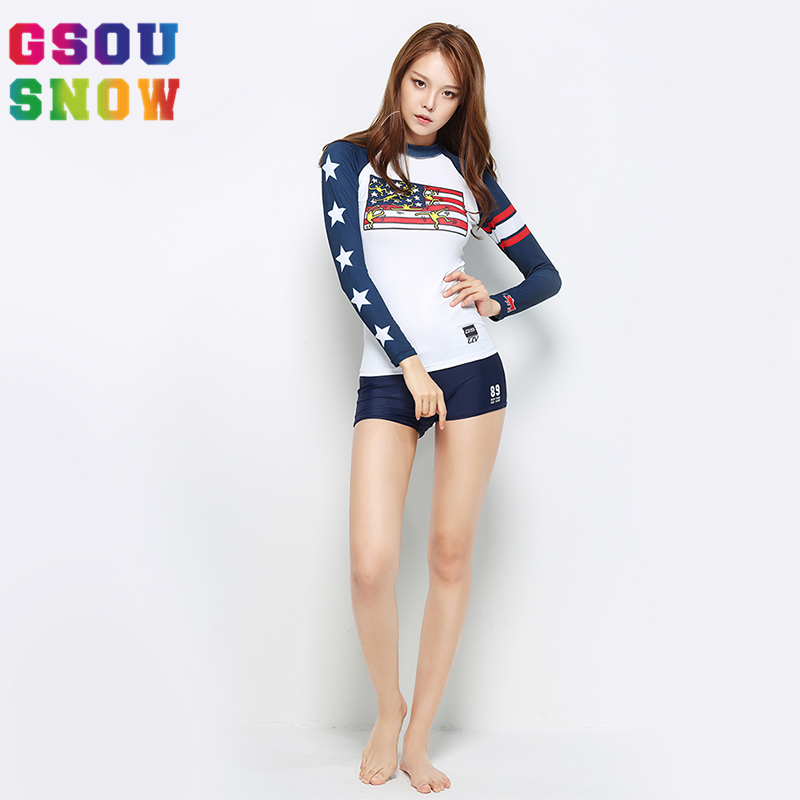 Gsou Snow 2017 Wetsuit Women Long Sleeve Swimwear Shirts Summer Beach Shorts Diving Scuba Surfing Spearfishing Triathlon Wetsuit  gsou snow brand 2017 men beach shorts quick dry summer board shorts swimming surfing diving motorboat shorts maillot de bain