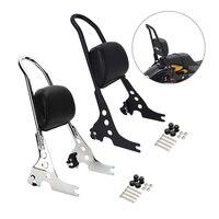 Triclicks Black Chrome Motorcycle Passenger Backrest Sissy Bar Rear Seat Bracket Cushion Pad For Harley Sportster XL 883 1200