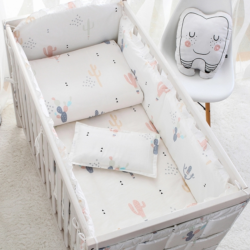4 To 10Pcs Cotton Baby Bedding Set Newborn Baby Bed Linens For Girl Boy Detachable Baby Cot Bumpers Set 7 Sizes Crib Bedding Set