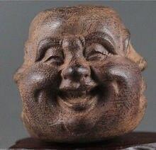 ไม้ที่สวยงามมือแกะสลักพระพุทธรูปใบหน้ารูปปั้นของความสุขความโกรธความเศร้าจอย