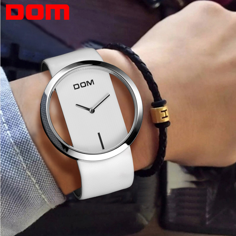 Women's Watches DOM Brand Luxury Fashion Quartz Unique Stylish Hollow Skeleton Watches Leather Sport Lady Wrist Watch Clock L205 vansvar brand luxury fashion casual quartz unique stylish hollow skeleton watch leather sport ladies wristwatches drop shipping