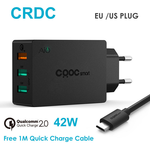 CRDC 42W Universal Quick Charge 2.0 USB Charger Fast Travel Phone Charger for iPhone 7 6s Plus Samsung Galaxy s8 S7 6 Xiaomi etc