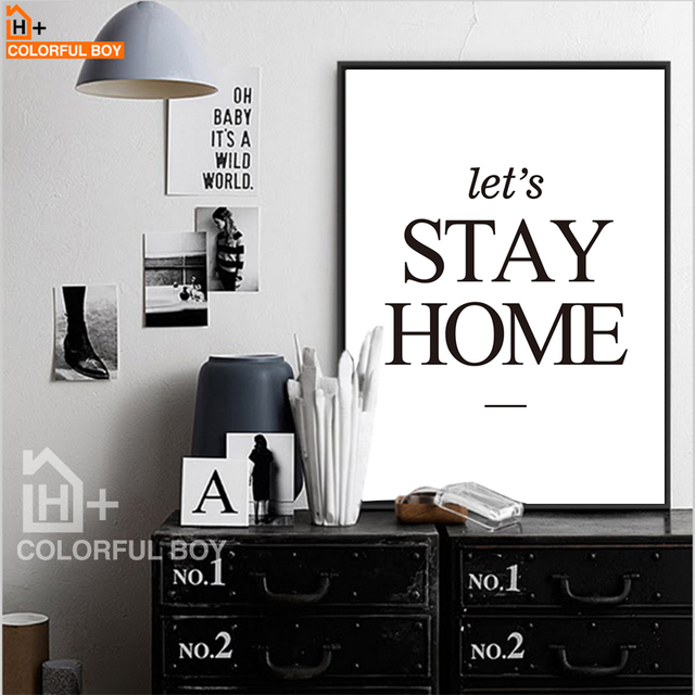 Colorfulboy quotes minimalism wall art print canvas painting black white posters and prints wall pictures for